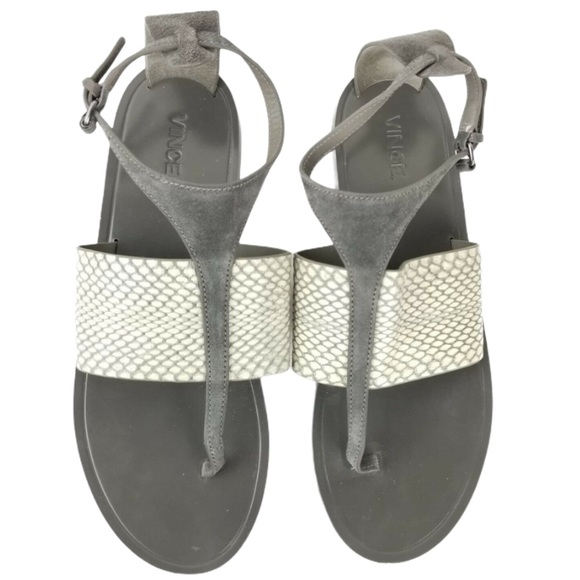 VINCE T-Strap Snake Embossed Leather Gray sandals